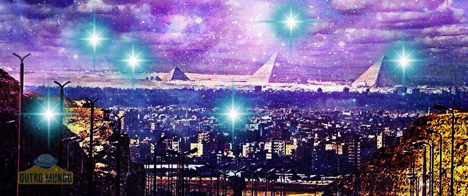 Luzes filmadas a longa distância no Cairo